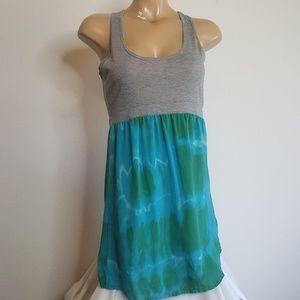 Gypsy 05 silk green blue and gray dress M